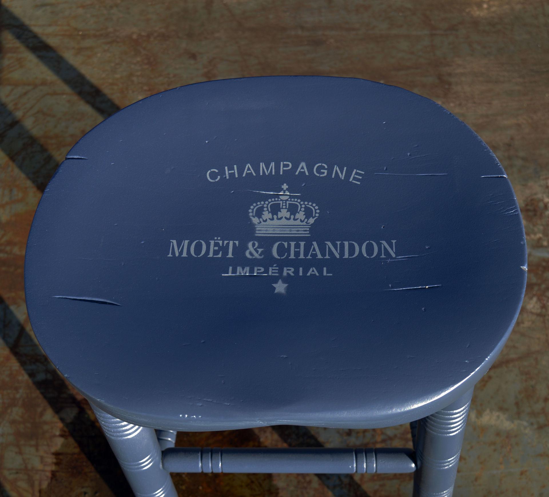MOET CHANDON LOGO UP CYCLED STOOL : moet seat close up from dorisandboris.co.uk size 1920 x 1737 jpeg 286kB
