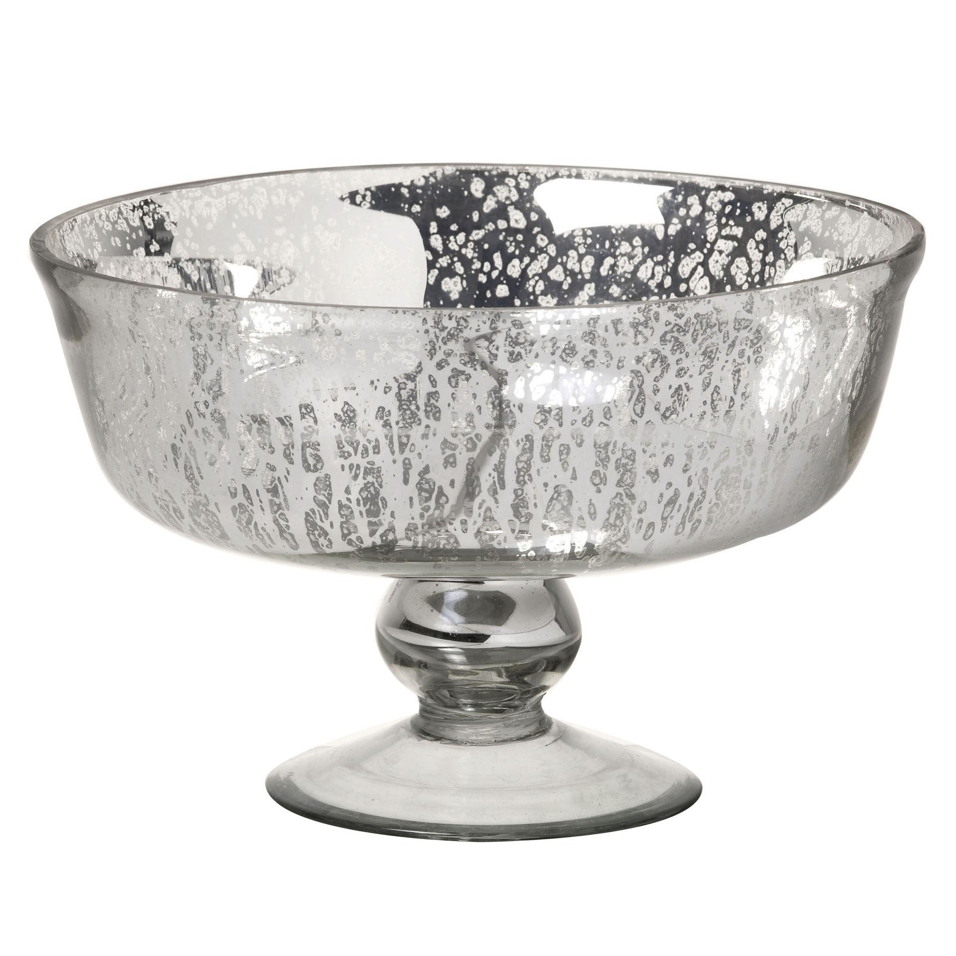 Glass Antique Silver Mercury Effect Bowl